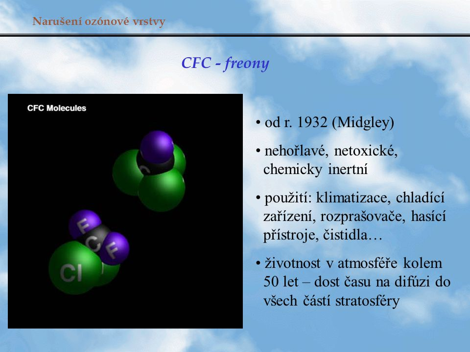 Narušení ozónové vrstvy CFC - freony od r. 1932 (Midgley) nehořlavé, netoxické, chemicky inertní použití: klimatizace, chladící zařízení, rozprašovače