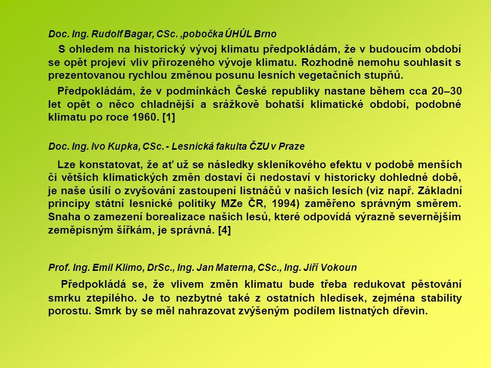 Doc. Ing. Rudolf Bagar, CSc.,pobočka ÚHÚL Brno S ohledem na historický vývoj klimatu předpokládám, že v budoucím období se opět projeví vliv přirozené
