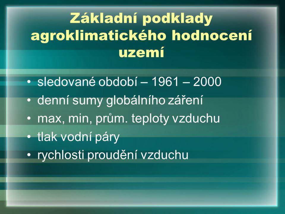 Základní podklady agroklimatického hodnocení uzemí sledované období – 1961 – 2000 denní sumy globálního záření max, min, prům. teploty vzduchu tlak vo