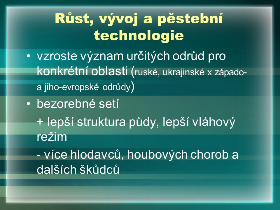 Růst, vývoj a pěstební technologie vzroste význam určitých odrůd pro konkrétní oblasti ( ruské, ukrajinské x západo- a jiho-evropské odrůdy ) bezorebn