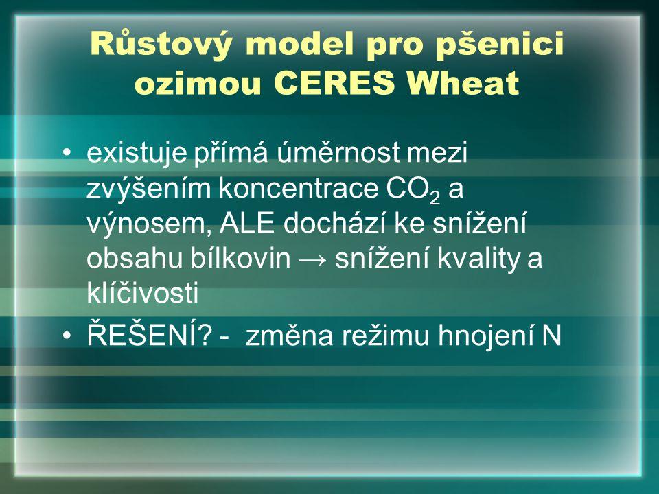 Růstový model pro pšenici ozimou CERES Wheat existuje přímá úměrnost mezi zvýšením koncentrace CO 2 a výnosem, ALE dochází ke snížení obsahu bílkovin
