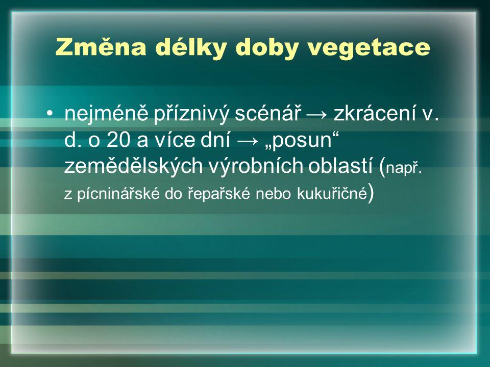 """Změna délky doby vegetace nejméně příznivý scénář → zkrácení v. d. o 20 a více dní → """"posun"""" zemědělských výrobních oblastí ( např. z pícninářské do ř"""