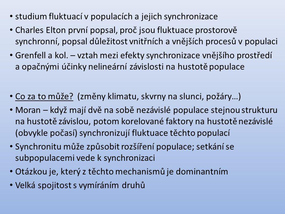 studium fluktuací v populacích a jejich synchronizace Charles Elton první popsal, proč jsou fluktuace prostorově synchronní, popsal důležitost vnitřních a vnějších procesů v populaci Grenfell a kol.