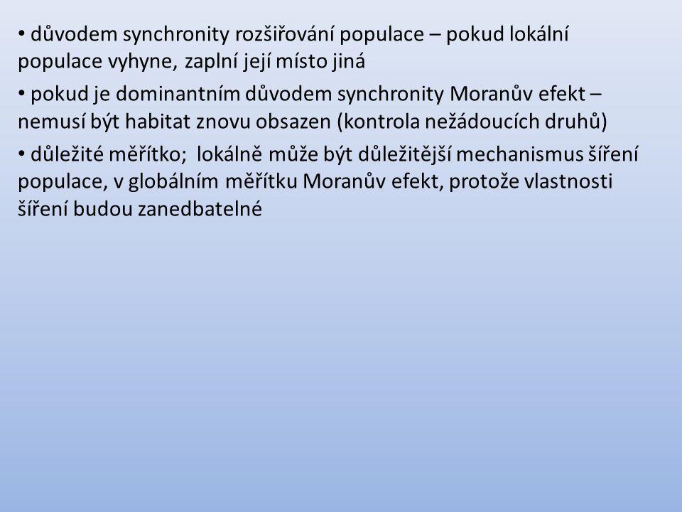 důvodem synchronity rozšiřování populace – pokud lokální populace vyhyne, zaplní její místo jiná pokud je dominantním důvodem synchronity Moranův efekt – nemusí být habitat znovu obsazen (kontrola nežádoucích druhů) důležité měřítko; lokálně může být důležitější mechanismus šíření populace, v globálním měřítku Moranův efekt, protože vlastnosti šíření budou zanedbatelné