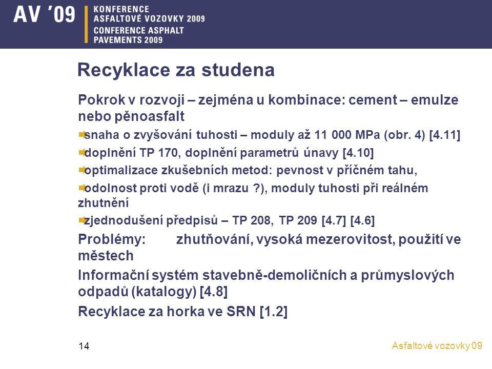 Asfaltové vozovky 09 14 Recyklace za studena Pokrok v rozvoji – zejména u kombinace: cement – emulze nebo pěnoasfalt  snaha o zvyšování tuhosti – mod
