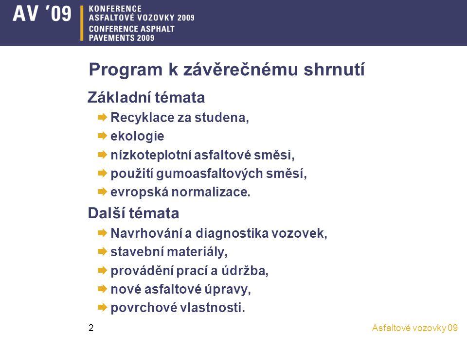 Asfaltové vozovky 092 Program k závěrečnému shrnutí Základní témata  Recyklace za studena,  ekologie  nízkoteplotní asfaltové směsi,  použití gumo