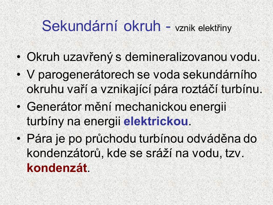 Sekundární okruh - vznik elektřiny Okruh uzavřený s demineralizovanou vodu. V parogenerátorech se voda sekundárního okruhu vaří a vznikající pára rozt