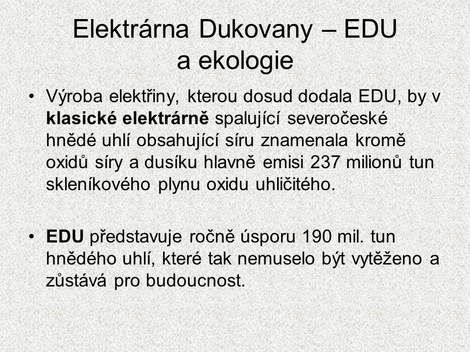 Elektrárna Dukovany – EDU a ekologie Výroba elektřiny, kterou dosud dodala EDU, by v klasické elektrárně spalující severočeské hnědé uhlí obsahující s