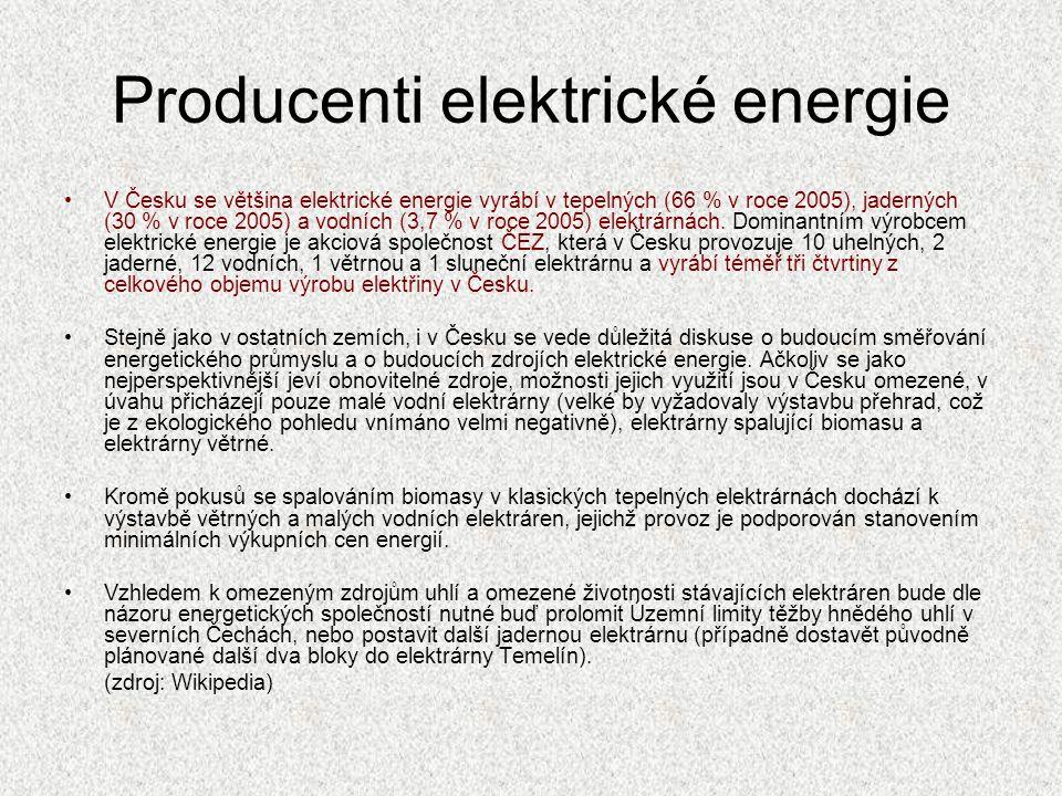 Producenti elektrické energie V Česku se většina elektrické energie vyrábí v tepelných (66 % v roce 2005), jaderných (30 % v roce 2005) a vodních (3,7