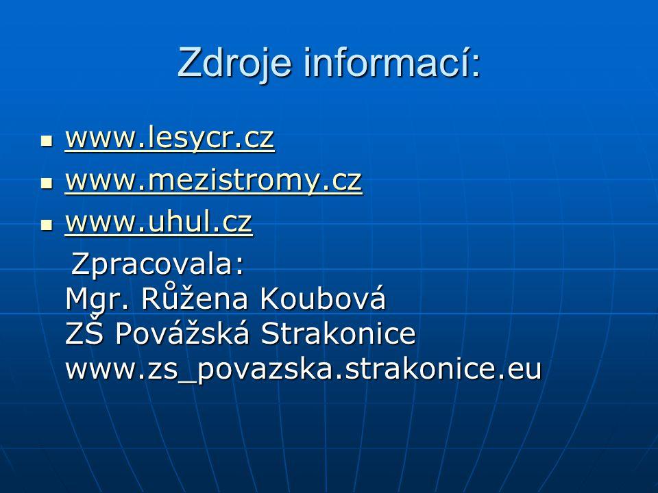 Zdroje informací: www.lesycr.cz www.lesycr.cz www.lesycr.cz www.mezistromy.cz www.mezistromy.cz www.mezistromy.cz www.uhul.cz www.uhul.cz www.uhul.cz