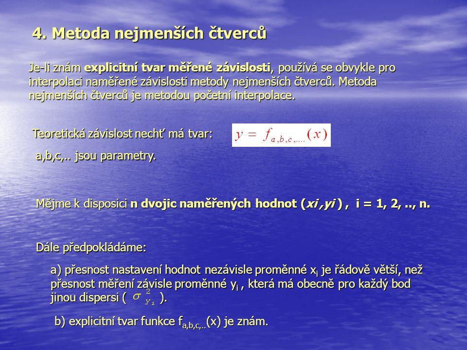 4. Metoda nejmenších čtverců Je-li znám explicitní tvar měřené závislosti, používá se obvykle pro interpolaci naměřené závislosti metody nejmenších čt