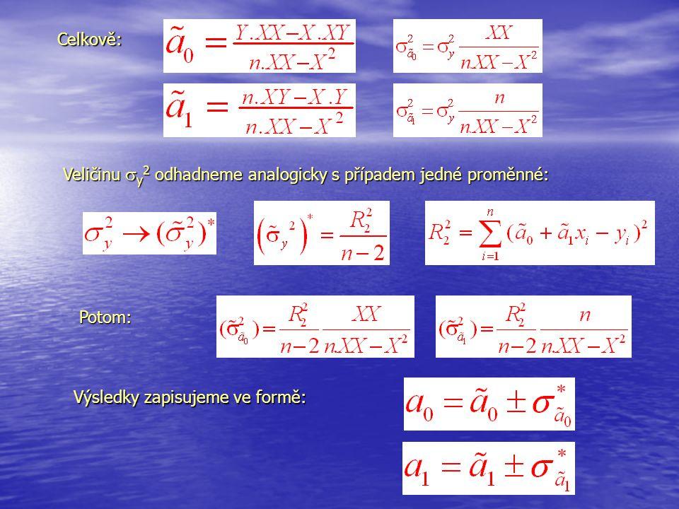 Celkově: Veličinu  y 2 odhadneme analogicky s případem jedné proměnné: Výsledky zapisujeme ve formě: Potom: