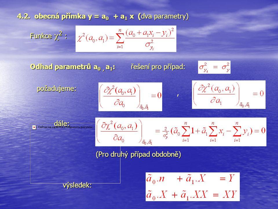 požadujeme: 4.2. obecná přímka y = a 0 + a 1 x (dva parametry) Funkce  2 :, řešení pro případ: dále: výsledek: Odhad parametrů a 0, a 1 : (Pro druhý
