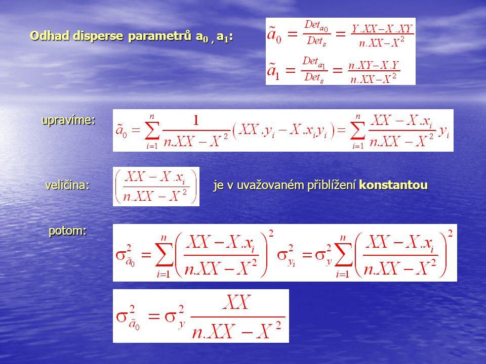 Odhad disperse parametrů a 0, a 1 : upravíme: veličina: je v uvažovaném přiblížení konstantou potom: