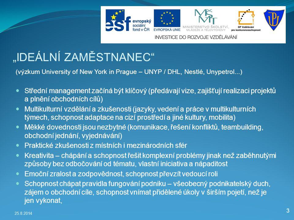 """25.8.2014 3 """"IDEÁLNÍ ZAMĚSTNANEC"""" (výzkum University of New York in Prague – UNYP / DHL, Nestlé, Unypetrol...) Střední management začíná být klíčový ("""