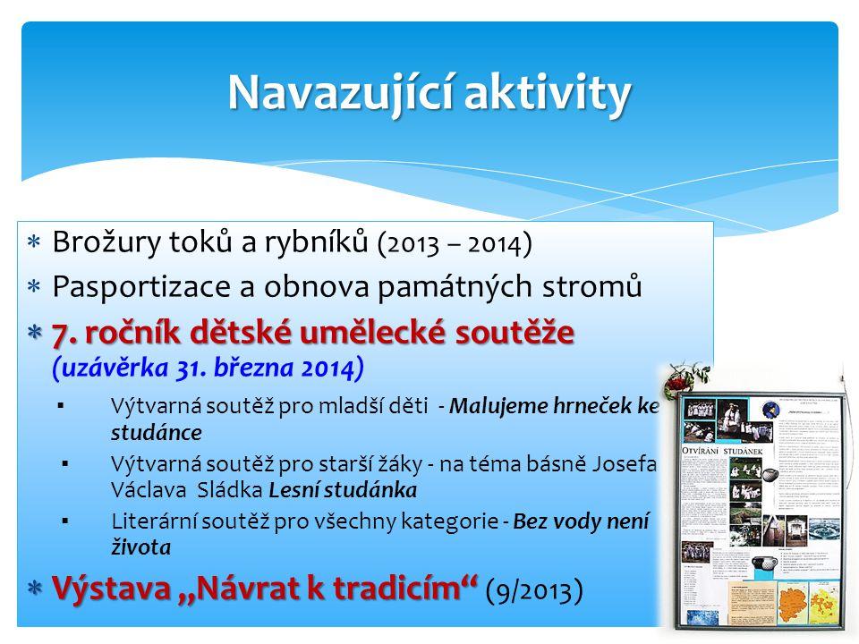  Brožury toků a rybníků (2013 – 2014)  Pasportizace a obnova památných stromů  7.