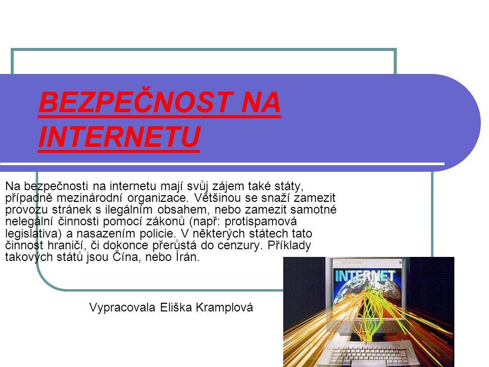 BEZPEČNOST NA INTERNETU Na bezpečnosti na internetu mají svůj zájem také státy, případně mezinárodní organizace. Většinou se snaží zamezit provozu str