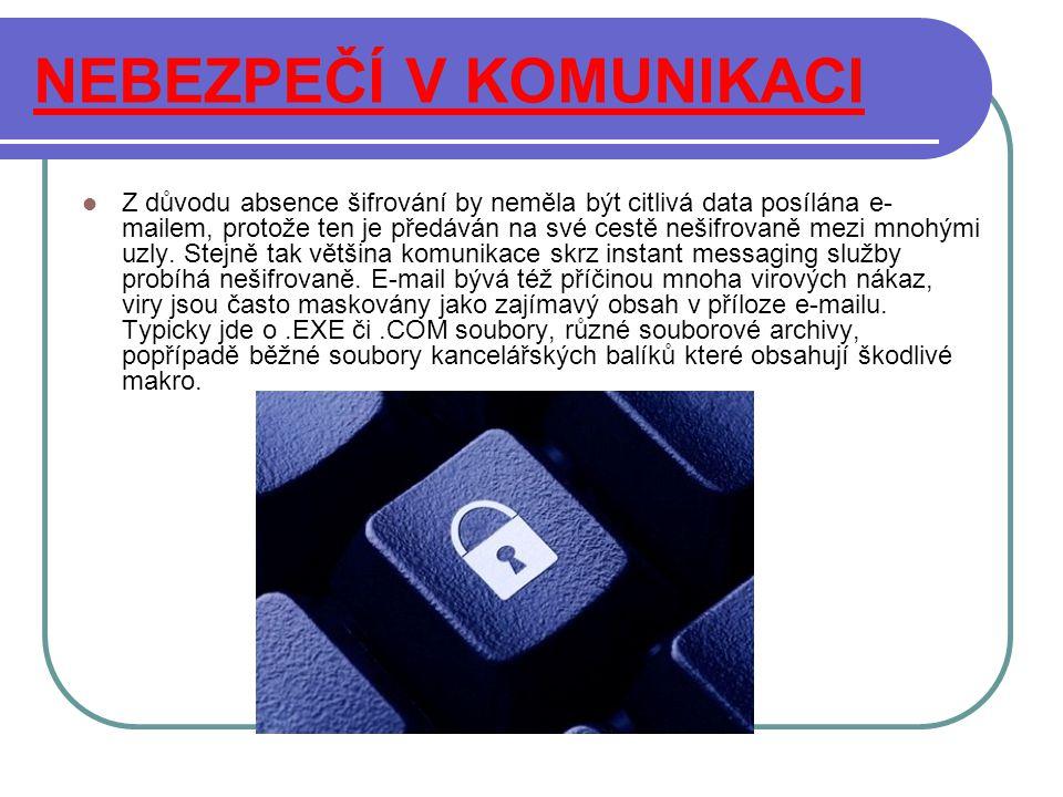 NEBEZPEČÍ V KOMUNIKACI Z důvodu absence šifrování by neměla být citlivá data posílána e- mailem, protože ten je předáván na své cestě nešifrovaně mezi