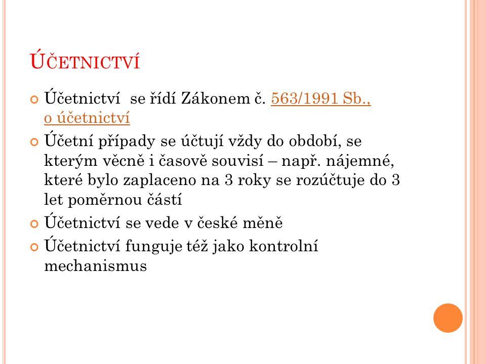 Ú ČETNICTVÍ Účetnictví se řídí Zákonem č.