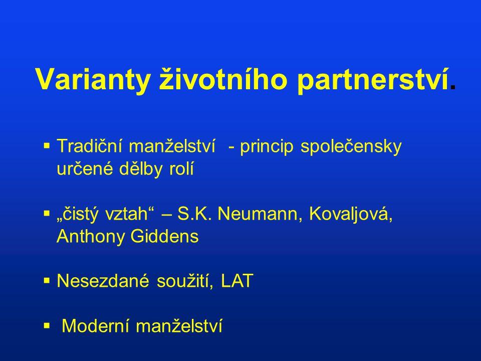 """Varianty životního partnerství.  Tradiční manželství - princip společensky určené dělby rolí  """"čistý vztah"""" – S.K. Neumann, Kovaljová, Anthony Gidde"""