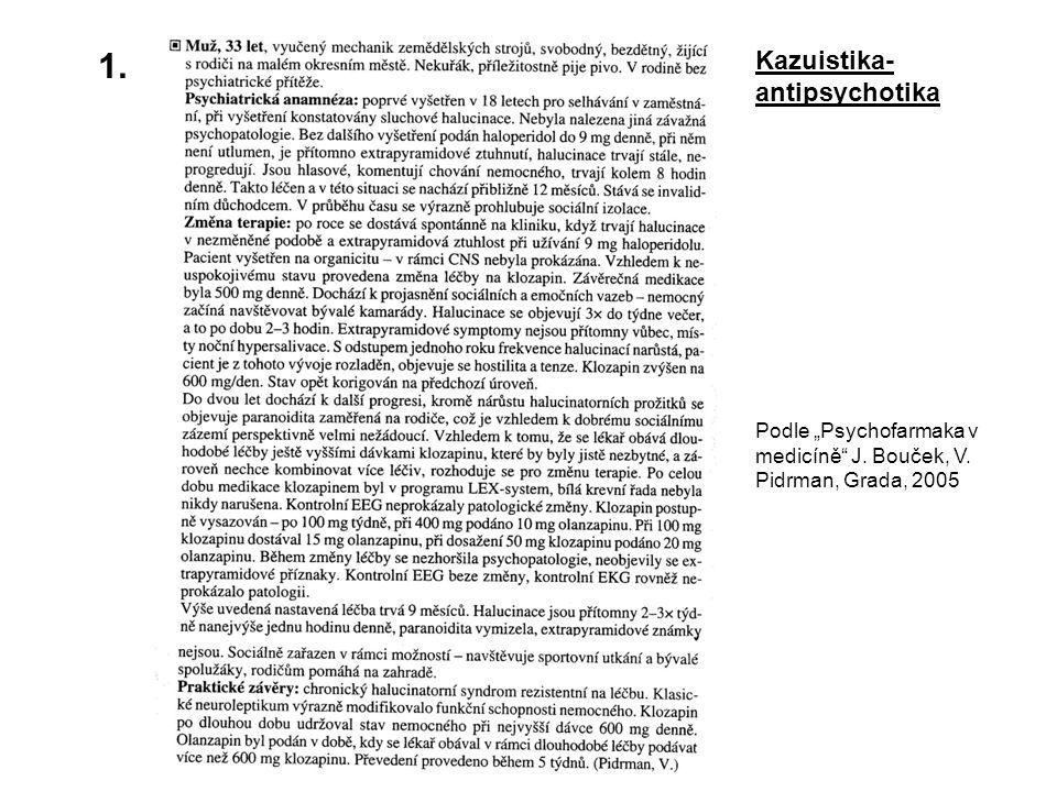 """1. Kazuistika- antipsychotika Podle """"Psychofarmaka v medicíně"""" J. Bouček, V. Pidrman, Grada, 2005"""