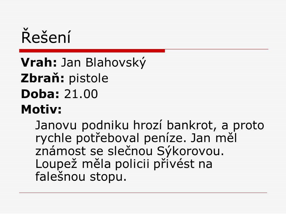 Řešení Vrah: Jan Blahovský Zbraň: pistole Doba: 21.00 Motiv: Janovu podniku hrozí bankrot, a proto rychle potřeboval peníze. Jan měl známost se slečno
