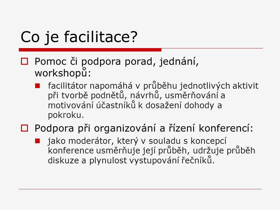 Co je facilitace?  Pomoc či podpora porad, jednání, workshopů: facilitátor napomáhá v průběhu jednotlivých aktivit při tvorbě podnětů, návrhů, usměrň