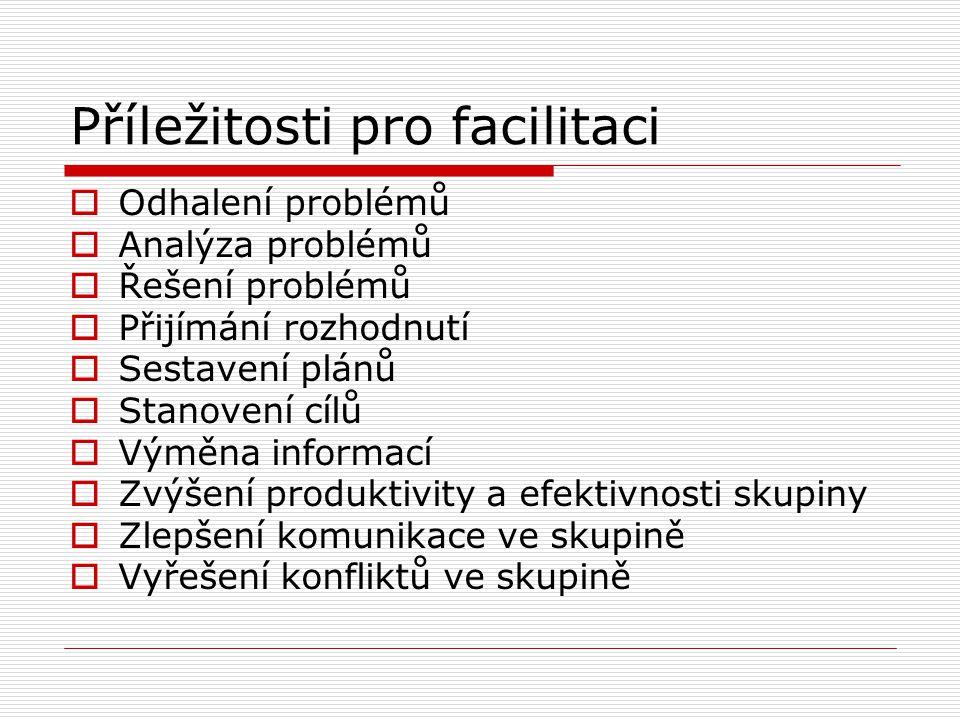 Příležitosti pro facilitaci  Odhalení problémů  Analýza problémů  Řešení problémů  Přijímání rozhodnutí  Sestavení plánů  Stanovení cílů  Výměn