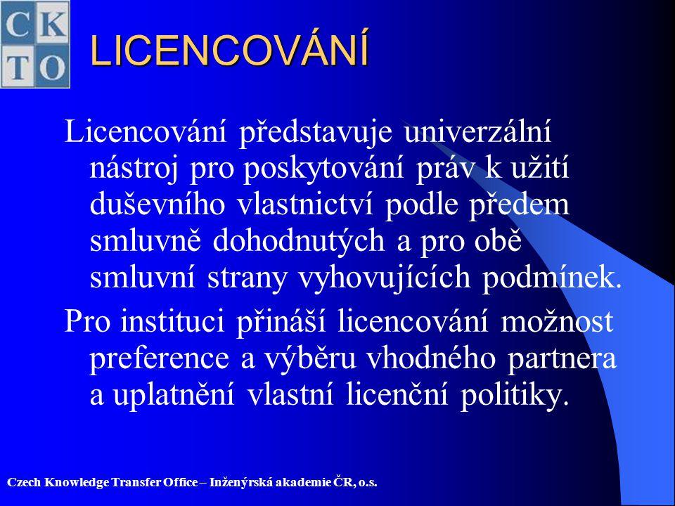 Czech Knowledge Transfer Office – Inženýrská akademie ČR, o.s.LICENCOVÁNÍ Licencování představuje univerzální nástroj pro poskytování práv k užití duš