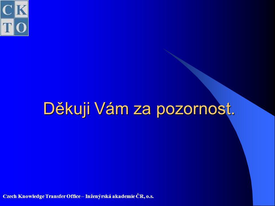 Czech Knowledge Transfer Office – Inženýrská akademie ČR, o.s. Děkuji Vám za pozornost.