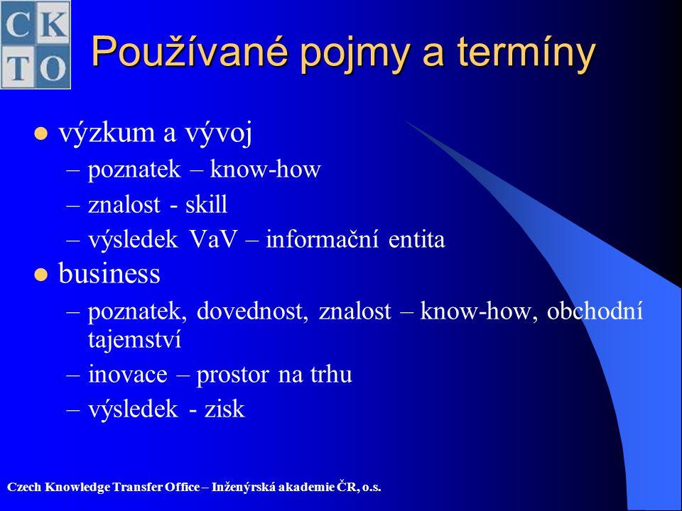 Czech Knowledge Transfer Office – Inženýrská akademie ČR, o.s. Používané pojmy a termíny výzkum a vývoj –poznatek – know-how –znalost - skill –výslede