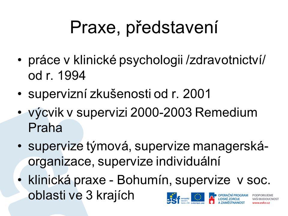 Praxe, představení práce v klinické psychologii /zdravotnictví/ od r.