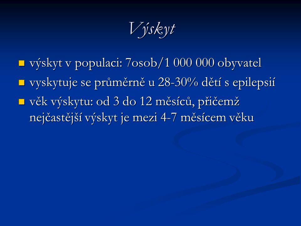 Výskyt výskyt v populaci: 7osob/1 000 000 obyvatel výskyt v populaci: 7osob/1 000 000 obyvatel vyskytuje se průměrně u 28-30% dětí s epilepsií vyskytu