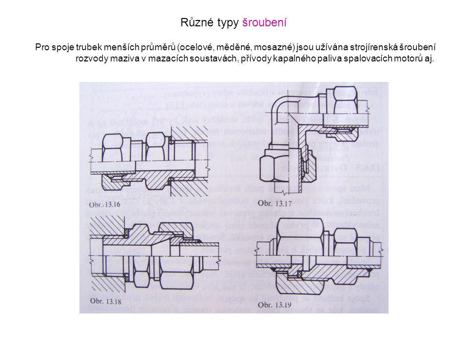 Různé typy šroubení Pro spoje trubek menších průměrů (ocelové, měděné, mosazné) jsou užívána strojírenská šroubení rozvody maziva v mazacích soustavác