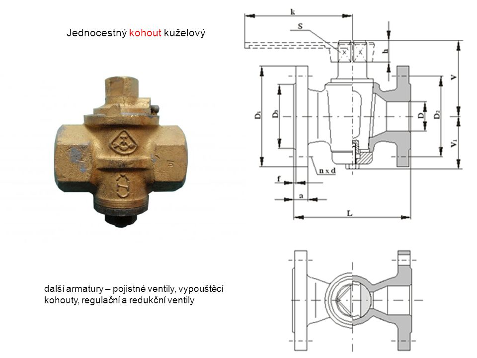 Jednocestný kohout kuželový další armatury – pojistné ventily, vypouštěcí kohouty, regulační a redukční ventily