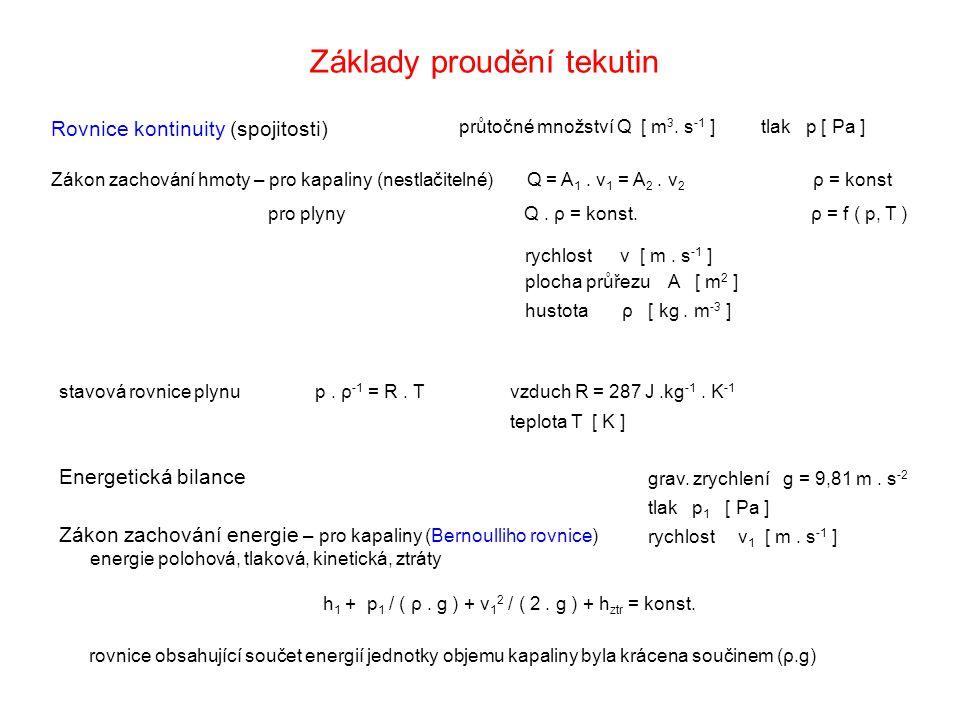 Základy proudění tekutin Zákon zachování hmoty – pro kapaliny (nestlačitelné) Q = A 1. v 1 = A 2. v 2 ρ = konst pro plyny Q. ρ = konst. ρ = f ( p, T )