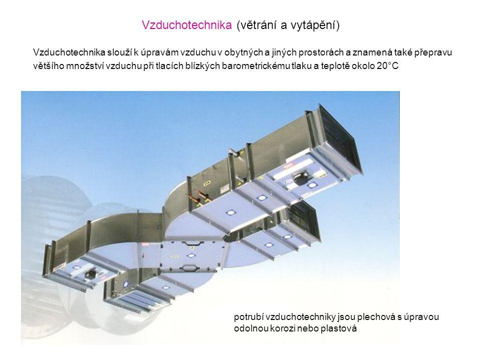 Vzduchotechnika (větrání a vytápění) Vzduchotechnika slouží k úpravám vzduchu v obytných a jiných prostorách a znamená také přepravu většího množství