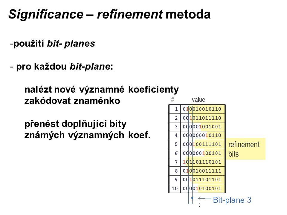 Significance – refinement metoda -použití bit- planes - pro každou bit-plane: nalézt nové významné koeficienty zakódovat znaménko přenést doplňující bity známých významných koef.