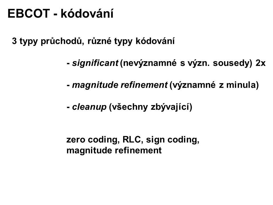 EBCOT - kódování 3 typy průchodů, různé typy kódování - significant (nevýznamné s význ.