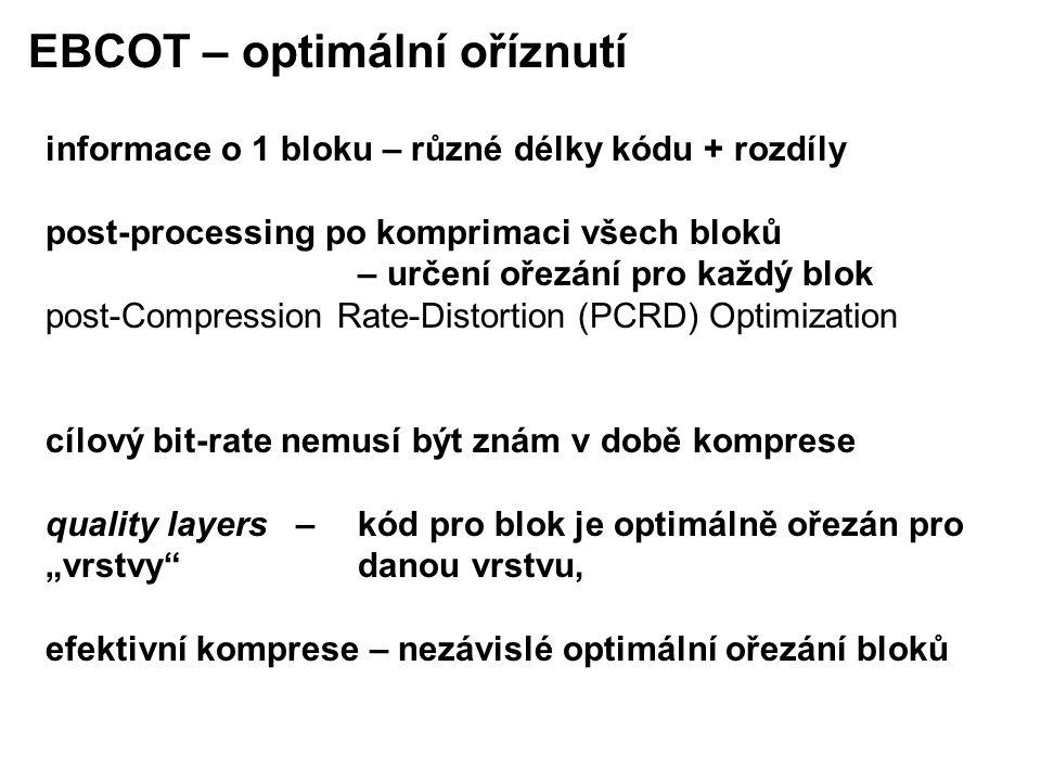 """informace o 1 bloku – různé délky kódu + rozdíly post-processing po komprimaci všech bloků – určení ořezání pro každý blok post-Compression Rate-Distortion (PCRD) Optimization cílový bit-rate nemusí být znám v době komprese quality layers – kód pro blok je optimálně ořezán pro """"vrstvy danou vrstvu, efektivní komprese – nezávislé optimální ořezání bloků EBCOT – optimální oříznutí"""