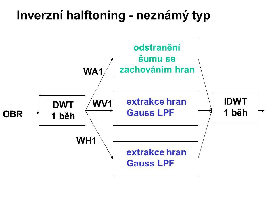 Inverzní halftoning - neznámý typ DWT 1 běh OBR odstranění šumu se zachováním hran extrakce hran Gauss LPF extrakce hran Gauss LPF IDWT 1 běh WA1 WV1 WH1