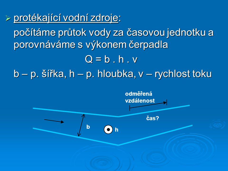  protékající vodní zdroje: počítáme průtok vody za časovou jednotku a porovnáváme s výkonem čerpadla Q = b. h. v b – p. šířka, h – p. hloubka, v – ry