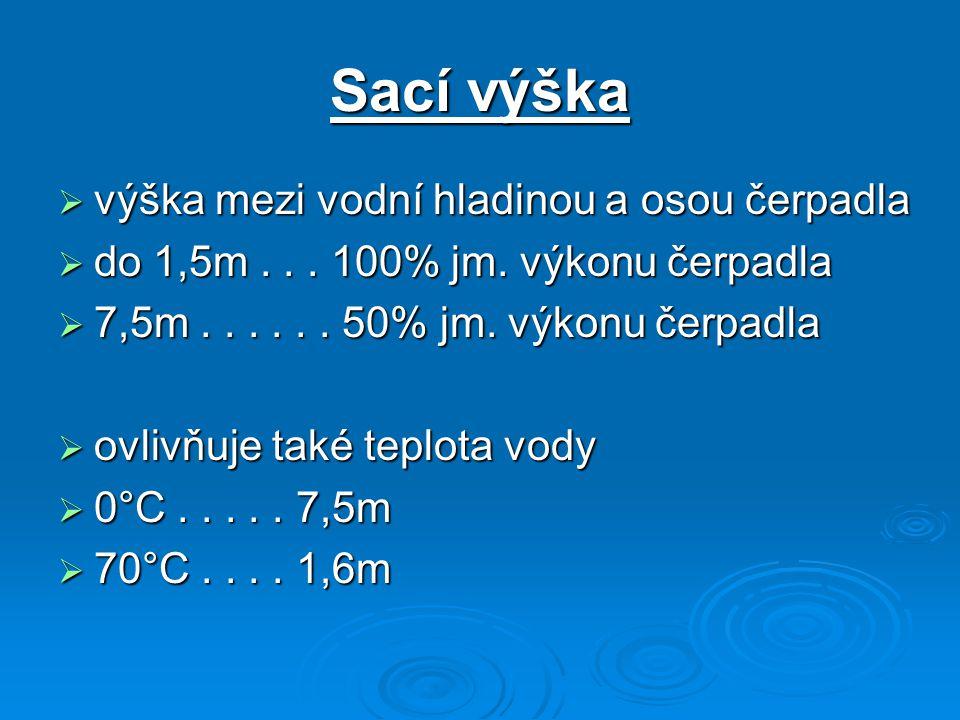Sací výška  výška mezi vodní hladinou a osou čerpadla  do 1,5m... 100% jm. výkonu čerpadla  7,5m...... 50% jm. výkonu čerpadla  ovlivňuje také tep