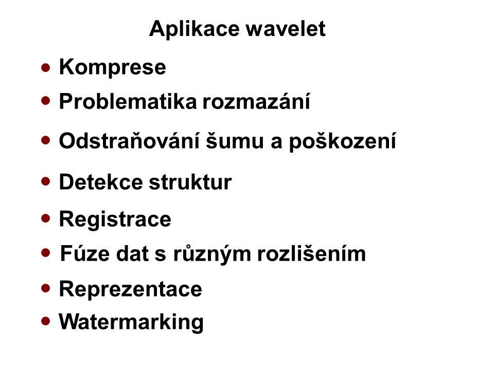 Aplikace wavelet Komprese Odstraňování šumu a poškození Detekce struktur Problematika rozmazání Registrace Reprezentace Fúze dat s různým rozlišením Watermarking