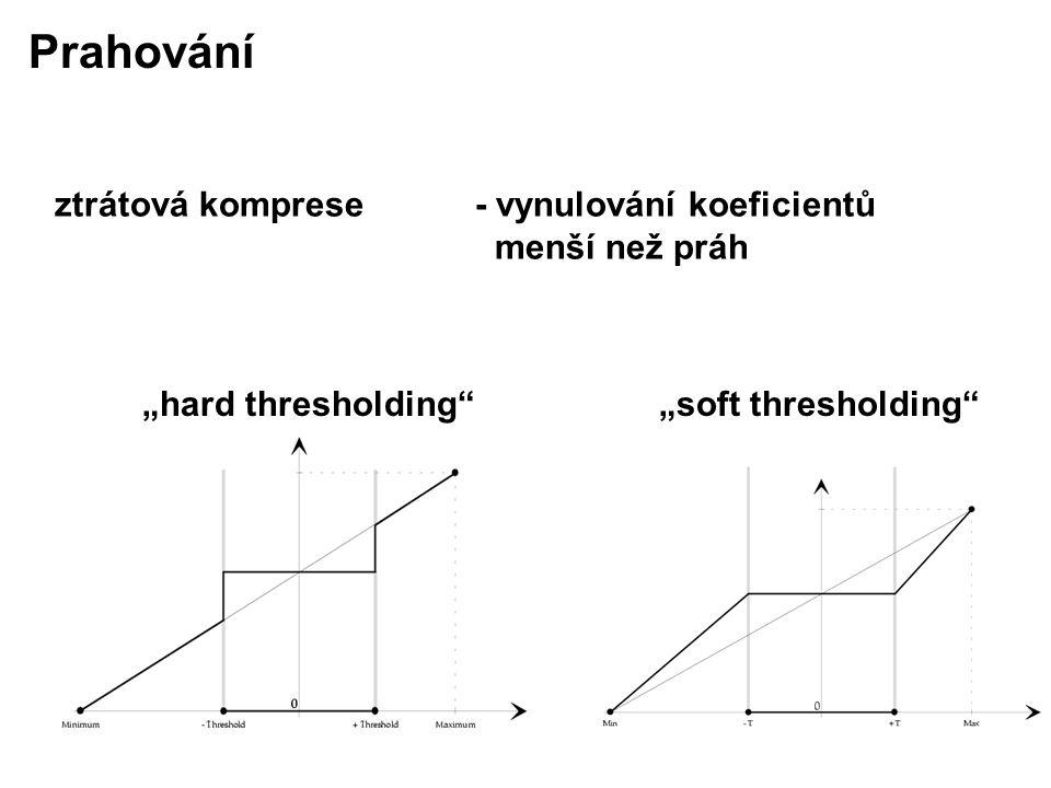 """ztrátová komprese - vynulování koeficientů menší než práh Prahování """"hard thresholding """"soft thresholding"""
