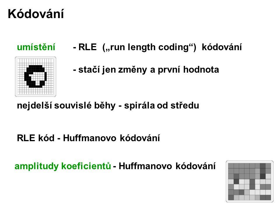 """umístění - RLE (""""run length coding ) kódování - stačí jen změny a první hodnota nejdelší souvislé běhy - spirála od středu amplitudy koeficientů - Huffmanovo kódování Kódování RLE kód - Huffmanovo kódování"""