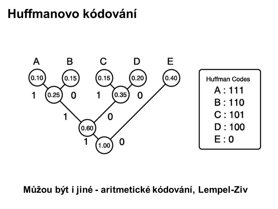 Huffmanovo kódování Můžou být i jiné - aritmetické kódování, Lempel-Ziv