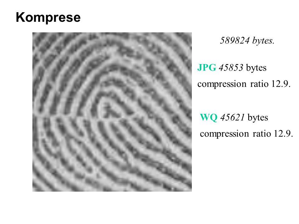 589824 bytes. JPG 45853 bytes compression ratio 12.9.