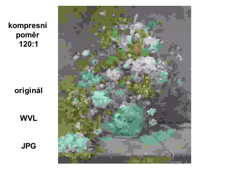 - eliminace redundantní a méně důležité informace - WT - provádí dekorelaci dat Komprese prostorová redundance: sousední hodnoty korelované frekvenční redundance: frekvenční hodnoty ze stejného pixlu jsou korelované časová redundance: frames malé změny v sekvenci - snižuje čas a cenu přenosu