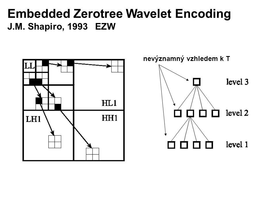 Embedded Zerotree Wavelet Encoding J.M. Shapiro, 1993 EZW nevýznamný vzhledem k T
